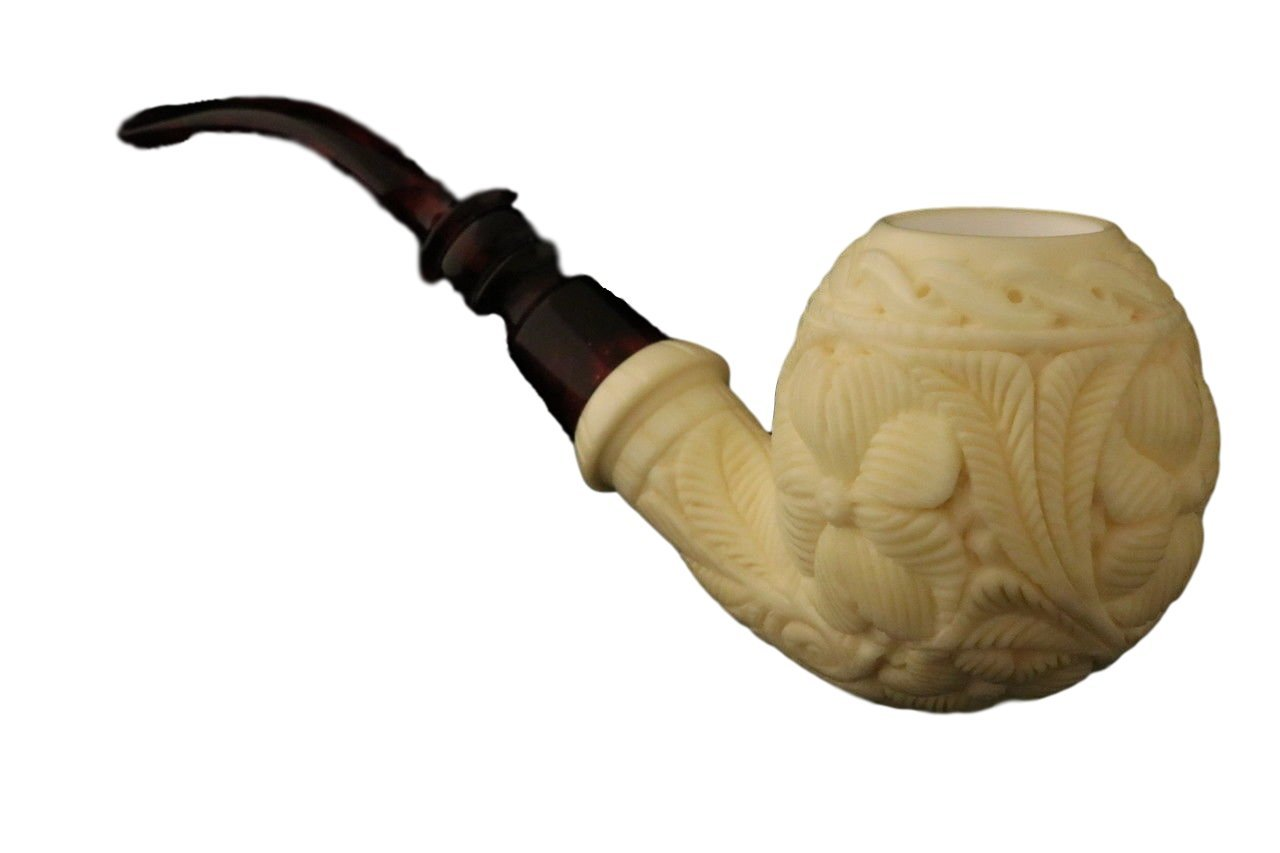 Meerschaum Pipe - Apple from Master Carver Emin - Tobacco Smoking Pipe Hand Made from the Finest Block Meerschaum - New