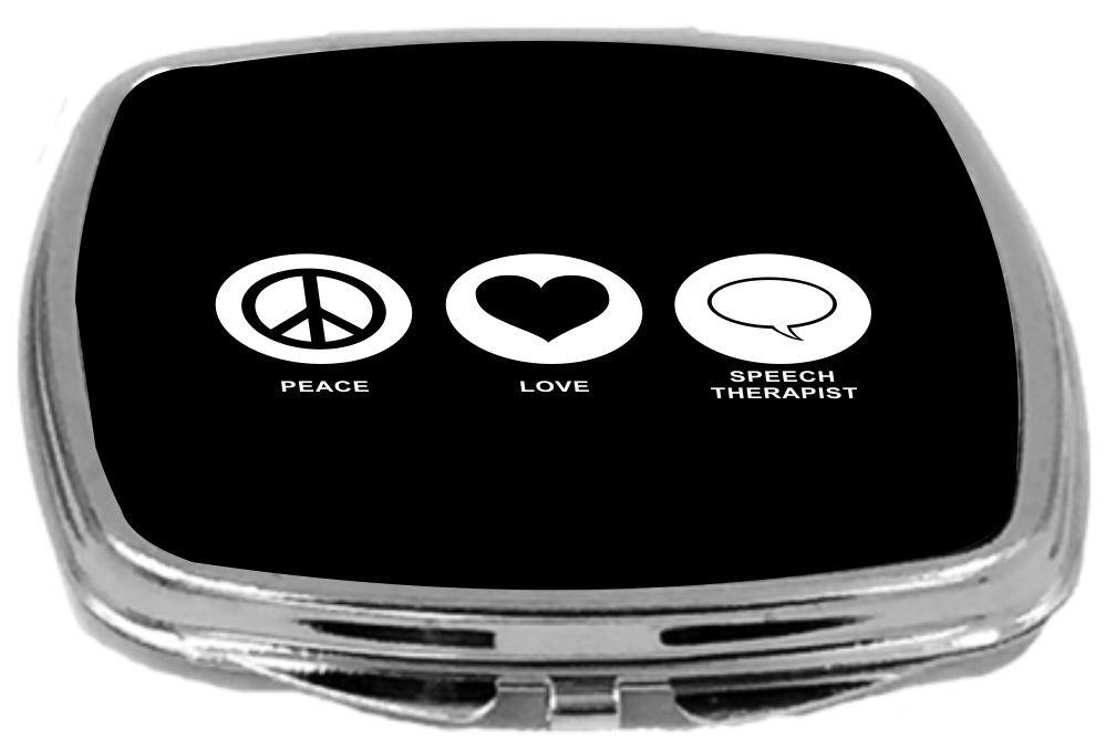 Rikki Knight Peace Love Speech Therapist Design Compact Mirror, Black, 2 Ounce