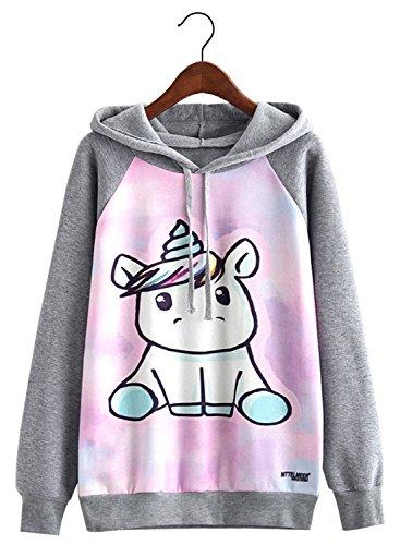 futurino Women's Funny Animal Print Long Sleeve Fleece Lined Hoodie Pullover Tops (Tardis Sweatshirt)