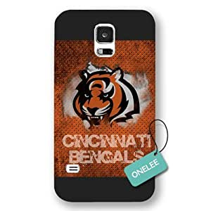 Onelee(TM) - Black Frosted NFL Team Cincinnati Bengals Logo Samsung Galaxy S5 Case & Cover - Black 5