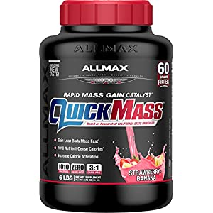 ALLMAX Nutrition QuickMass Loaded Mass Gainer, Strawberry Banana, 6 lbs