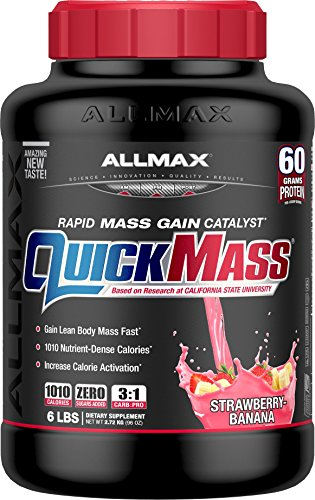 ALLMAX QUICKMASS LOADED, Rapid Mass Gain Catalyst Powder, Zero Trans Fat, Strawberry Banana Flavor, Dietary Supplement, 6 Pound