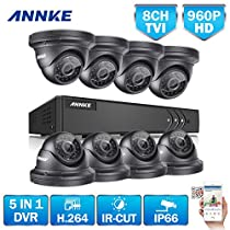 ANNKE Security Camera System 8CH 1080P Lite Video DVR and (8) HD 1.3MP 960P Weatherproof Dome Cameras with Superior Night Vision, Metal Housing, No HDD