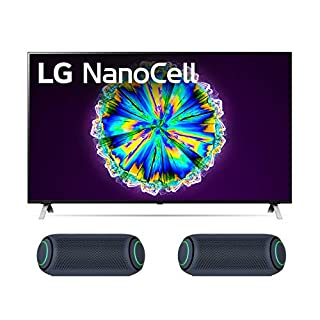 """LG 55NANO85U 55"""" Real LED NanoCell Display Smart Nano 85 Ultra HD 4K TV with Two LG PL5 Black Bluetooth Portable with Meridian Technology Speakers (2020)"""