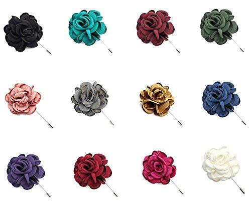 ZAKIA 12pcs Men's Flower Lapel Pin Brooch Handmade Boutonniere for Suit Wholesale Lot (Mixed 12 -