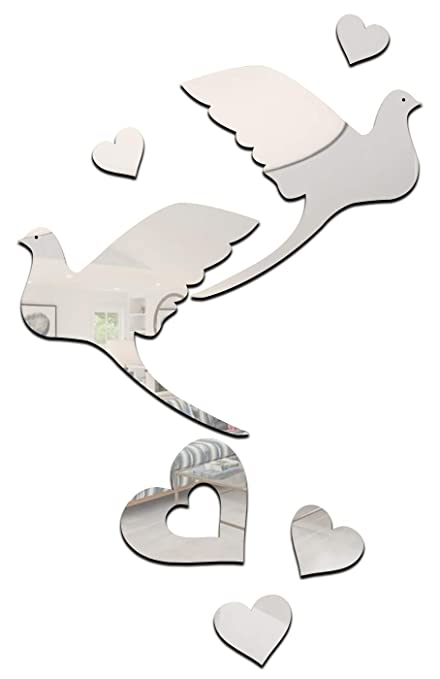 flying birds and hearts silver pack of 7 3d acrylic decorative mirror wall stickers
