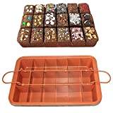 CHEFHUB Copper Non-stick Baking Pan with Built-In Slicer/Cutter Divided Brownie Baking Pan Non-Stick Removable Bottom Makes 18 Perfect Brownies Dimension: 12.2'' x 8''