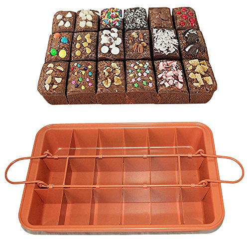 CHEFHUB Copper Non-stick Baking Pan with Built-In Slicer/Cutter Divided Brownie Baking Pan Non-Stick Removable Bottom Makes 18 Perfect Brownies Dimension: 12.2'' x 8'' by CHEFHUB