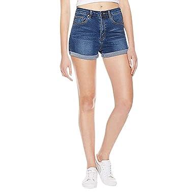 Pantalones Cortos De Mezclilla para Mujer De Alta ...