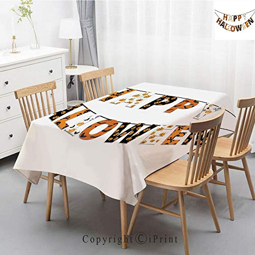 Pure Linen Plain Tablecloth Athena,Natural Rectangular Table Cloth for Indoor and Outdoor Use,Natural Tablecloth,55x70 Inch,Halloween,Happy Halloween Banner Greetings Pumpkins Skull Cross Bones Bats -