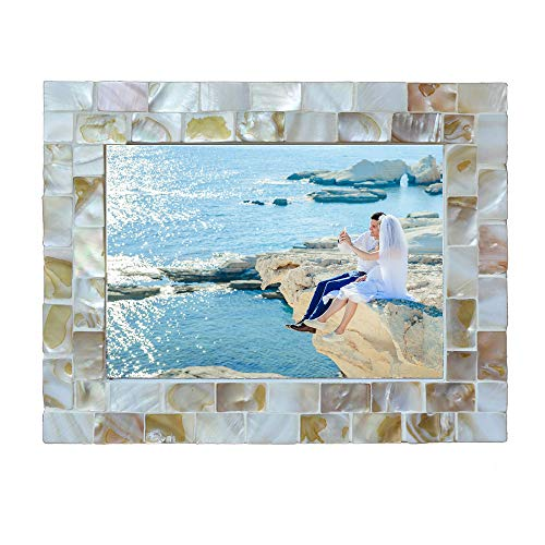 replicartz Photo Frame 3.5x5 Mother of Pearl White Photo Frame 3.5 by 5 Wedding Beach Picture Frame (3.5x5 White)