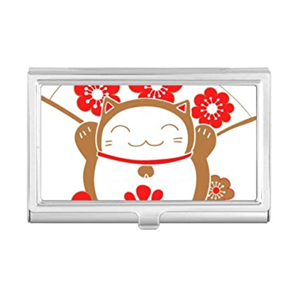 Amazon cherry blossoms lucky fortune cat japan business card cherry blossoms lucky fortune cat japan business card holder case wallet colourmoves