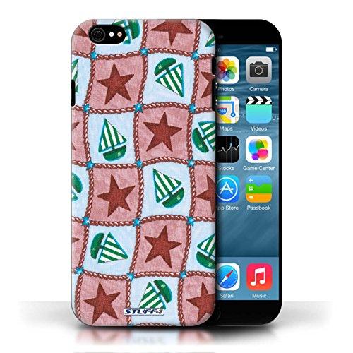 Etui / Coque pour Apple iPhone 6/6S / Rouge/Vert conception / Collection de Bateaux étoiles