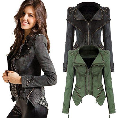 OYTRO Sharp Power Studded Shoulder Notched Lapel Denim Jeans Tuxedo Coat Blazer Jacket Casual Jackets