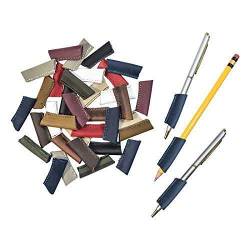 Durable Leather Pen/Pencil Grip (3 Pack) Handmade by Hide & Drink :: Slate Blue