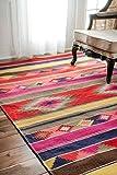 nuLOOM SPFA01A Flatweave Ladonna Tribal Kilim Rug, 4' x 6' , Multicolor