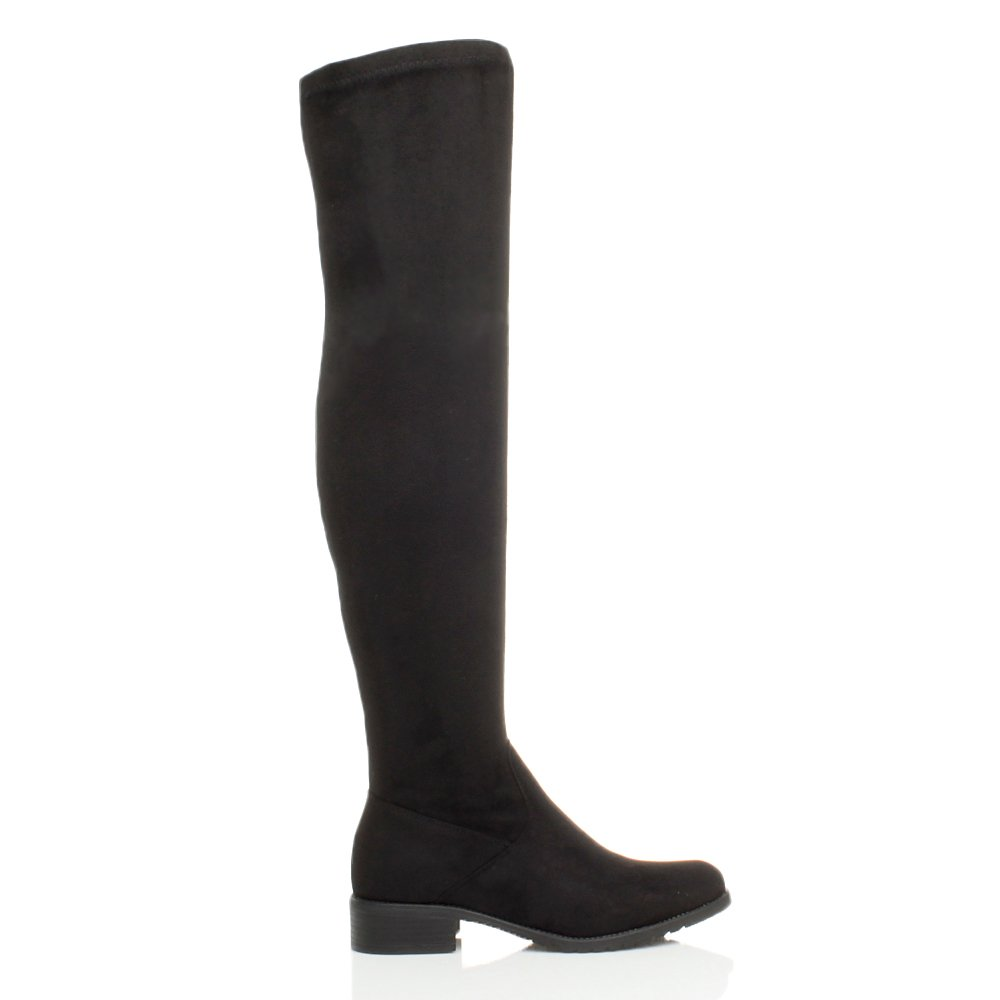 e1c8b1486ad1 Womens ladies low heel flat thigh high over the knee stretch riding boots  size  Amazon.co.uk  Shoes   Bags