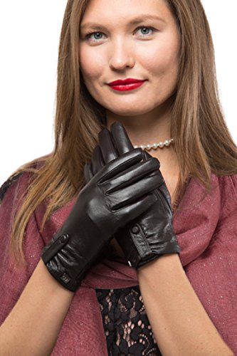 Sheepskin Chocolates (Fashion Sheepskin Leather Gloves For Women, Cold Weather TouchScreen - Gathered Button Design - Thinsulate Lined Long Sleeve Gloves - Dark Chocolate - X Large)