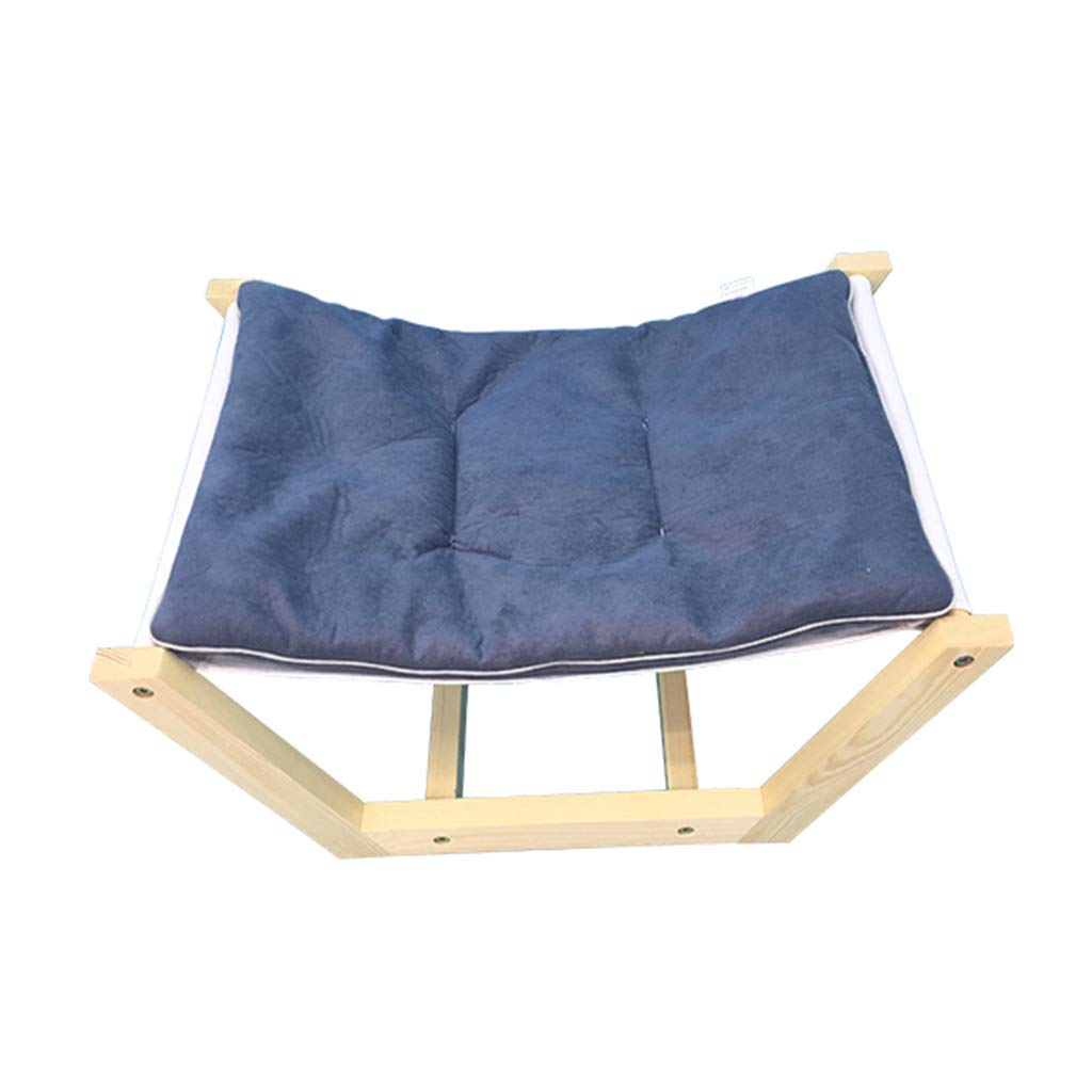 M Pet Bed Cat Dog Bed Solid Wood Hammock Teddy Washable Grey Mattress (Size   M)
