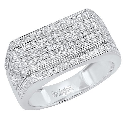 0.76 Carat (ctw) 10K White Gold Round White Diamond Men's Flashy Hip Hop Ring 3/4 CT (Size 7) by DazzlingRock Collection