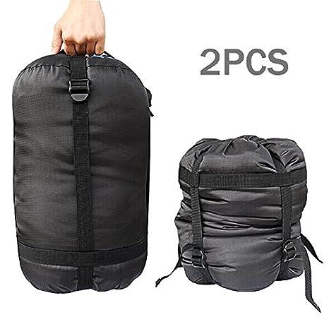 EF 2pcs Negro Nylon para saco de dormir Almacenamiento Compresión Bolsa Saco: Amazon.es: Hogar