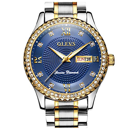 (Luxury Diamond Day Date Dress Watches for Men Royal Blue Big Face Dial Gold Bezel Luminous,OLEVS Male Business Casual Simple Stainless Steel Analog Quartz Calendar Wrist Watch Waterproof Gifts Silver)