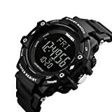 Bounabay Men's Sports Pedometer Watch with Heart Rate Monitor LED Digital Watch 50M Waterproof, Black