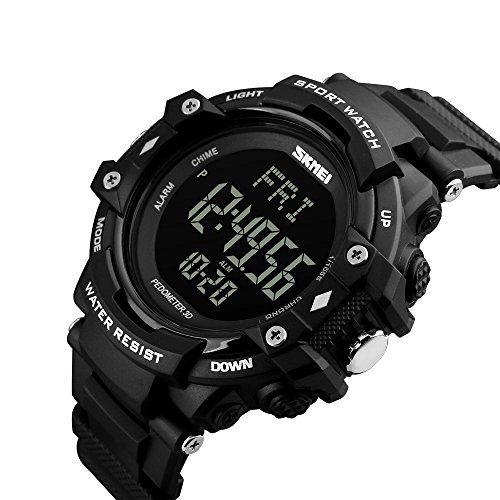 Digital Heart Rate Monitor Watch (Bounabay Men's Sports Pedometer Watch with Heart Rate Monitor LED Digital Watch 50M Waterproof, Black)