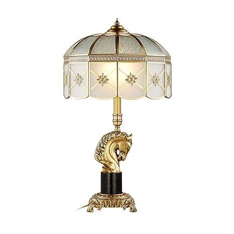Amazon.com: CCSUN Lámpara de mesita de noche, Retro Bronce ...
