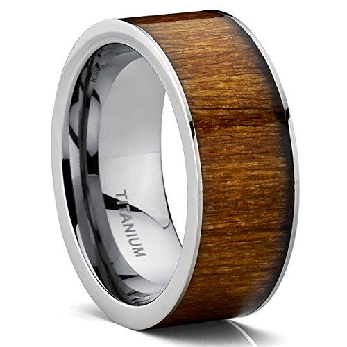 Flat Top Titanium Wedding Ring Band With Hawaiian Koa Wood Inlay, Comfort Fit 9 MM Size 10.5 (Wood Rings Metal)