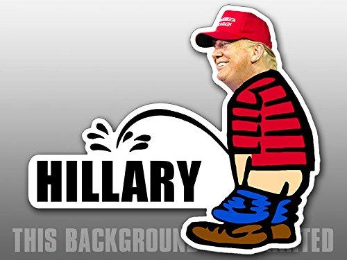 American Vinyl Trump Pissing Hillary Shaped Sticker (Funny Peeing GOP Calvin)