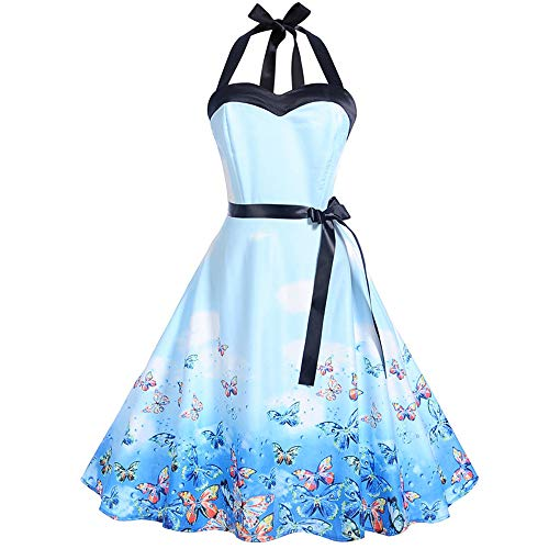 iDWZA Women's Vintage Print Sleeveless Backless Strap Evening Party Prom Dress(M,Blue-1)
