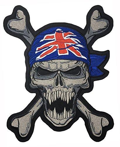 ch Skull Turban Union Jack United Kingdom Flag Cross Bone Ghost Biker Rider Motorcycle Jacket Vest Costume Embroidered Sew on Iron on Patch (Iron-Turban-Skull-UK-Large) ()