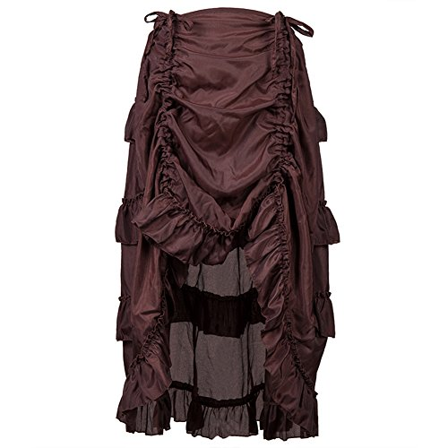 Adjustable Ruffle Asymmetric Vintage Gothic Skirt Plus Size Steampunk Corset Skirt Long for Women S-6XL (3XL, Brown)