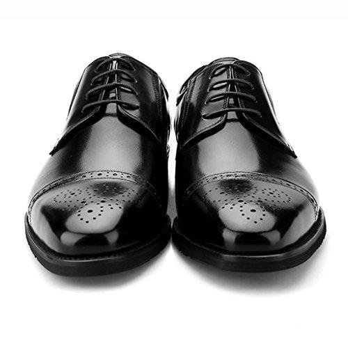 Herren Lederschuhe Frühling Herren Lederschuhe Business Formelle Abnutzung Lederschuhe Männlich British Style Atmungsaktiv Bequem Herrenschuhe ( Farbe : Schwarz , größe : EU44/UK8.5 ) Schwarz