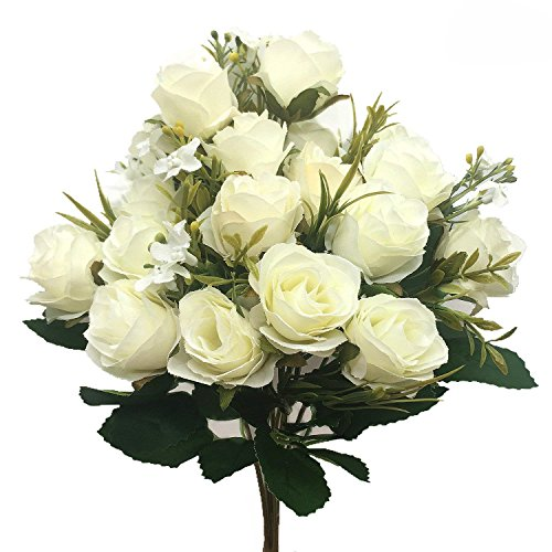(CATTREE Artificial Rose Flowers, Artificial Silk Fake Flowers 5 Branch 10 Heads Leaf Rose Wedding Floral Decor Bouquet for Home Garden Party Wedding Decoration (White) 2pcs)