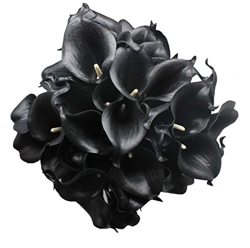 20 Heads Mini Calla Lily Bridal Wedding Bouquet Real Touch Flower Bouquets (black) ()
