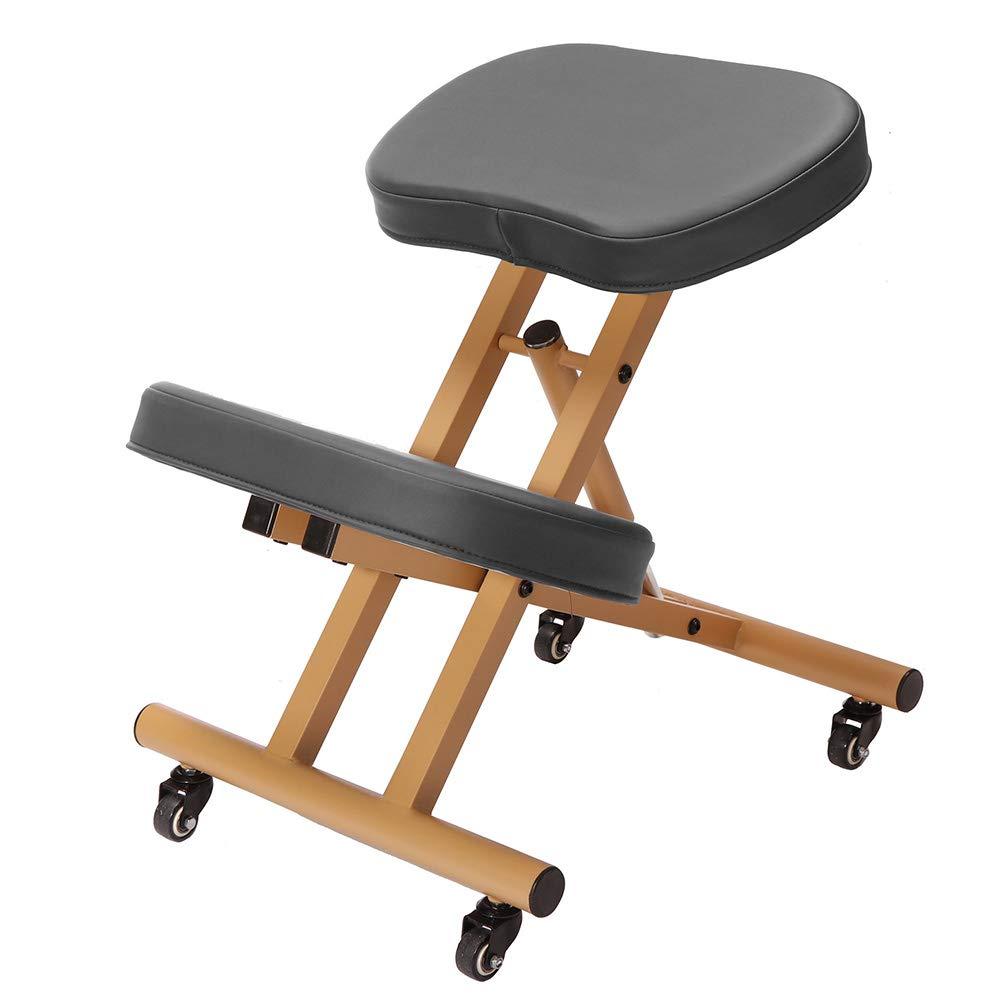 Modern Home Ergonomic Rolling Kneeling Posture Chair - Camel/Black by Modernhome