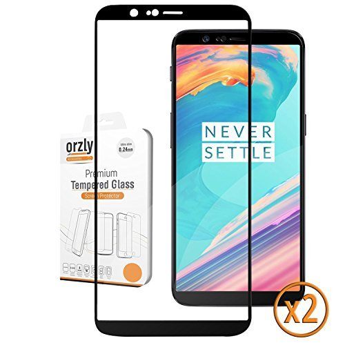 Overlay Transparency (OnePlus 5T Screen Protectors (x2), Orzly Pro-Fit Tempered Glass Screen Protector TWIN PACK for OnePlus 5T (Full Screen Coverage) – Transparent Screen / BLACK Frame)
