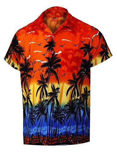 Virgin Crafts Men's Hawaiian Button Down Short Sleeve Shirt Orange Aloha Vacation Beach Shirts, Orangem, 3XL | Chest: 58