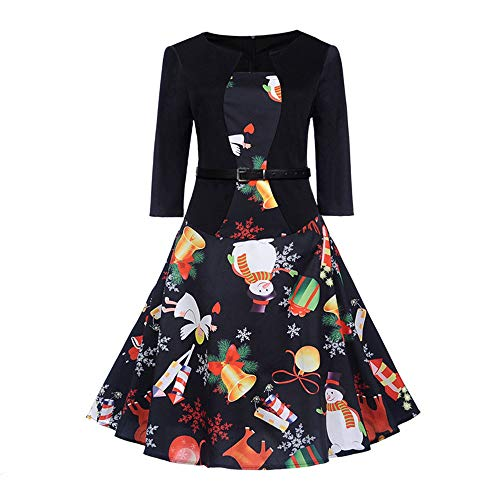 Clearance Sale! Wobuoke Women's Halloween Christmas Vintage Print 3/4 Sleeve Evening Party Swing Dress with Belt -