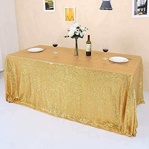 GFCC Gold Sequin Tablecloth Sparkly for Party Wedding Banquet Christmas Rectangle Table Cloth 48