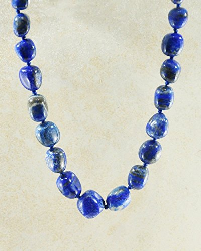 - SIVALYA Big Navy Blue Lapis Lazuli Stone Necklace with Silver Clasp, Chunky Stones Necklace, Large Natural Gemstone Graduating Necklace, Big Lapis Lazuli Nuggets Statement Necklace, Healing Jewelry