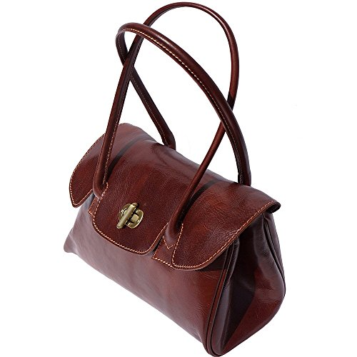 With Handles Lady 6544 Leather Handbag Shoulderbag 2 Brown And IxYwgSzqrY