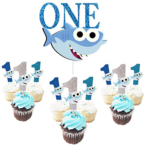 ONE Birthday Cake Topper with1st Cupcake Toppers Shark Birthday for Boy First Birthday Baby Shower Party Supplies (Blue) ()