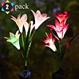 Outdoor Solar Garden Stake Lights- GSRING 2 Pack Solar Flowers with 8 Solar Lilies,Multi-Color Changing LED Solar Stake Lights for Garden, Patio, Backyard (White&Purple) For Sale