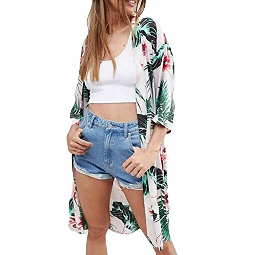 Women Leaf Print Cover Blouse Tops Bikini Swimwear Beach Swimsuit Smock ()