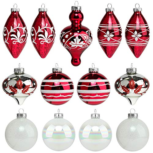 Costyleen Christmas Decoration Colorful Glass Balls Ornaments Set Festival Home Party Decors Xmas Tree Hanging Pendant Assorted Decorative Baubles Large Size 3.3in 13-Pack Red White