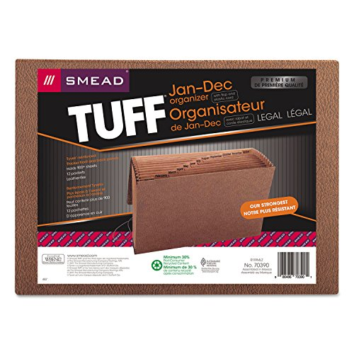 Smead TUFF Expanding File, 12 Pockets, Monthly (Jan.-Dec.), Flap and Cord Closure, Legal Size, Redrope (70390)