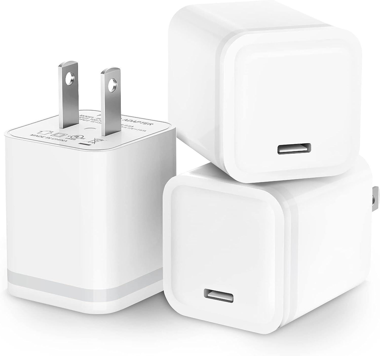 USB C Charger Block, Niluoya 3-Pack 20W Plug for iPhone 12/12 Mini/ 12 Pro/ 12 Pro Max, PD Fast USBC Box Wall Cube Charging Brick Power Adapter for iPhone 11 Pro Max, AirPods Pro, iPad Pro, Galaxy